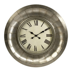 iMax - iMax Mesick Aluminum Clock X-43086 - Bands of riveted aluminum form the frame of the Mesick Aluminum Clock, giving it a mid-century industrial look with a versatile appeal.