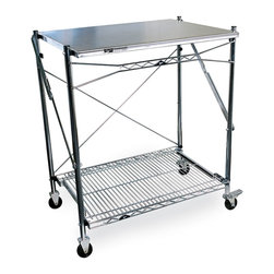 "InterMetro Industries - Metro Mobile Folding Table - This versatile work table features a solid top with a wire bottom shelf.  It provides a work space where you need it and when you need it. Two swivel casters and two casters with brakes make it easy to move, yet stable once in place.  When not in use this unit folds to 3"" wide.  Work surface is made of type 304 Stainless Steel. Posts and bottom shelf are chrome plated.  Use it adjacent to your outdoor barbeque or kitchen counter, or as a free-standing beverage/condiment bar, a sampling table, a special hobby space, or simply place it in the back of your car for transport to a remote location.  Uses are only limited by your imagination."