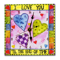 """My Heart Ticks... Wall Clock - The My Heart Ticks for You Clock reads """"I Love You 'til the End of Time' and makes the perfect gift for any loved one. It's hand made in our studio, from a print of an original watercolor, which is dry mounted onto black foam board and heat-sealed with a protective laminate, so it looks like ceramic but is light as a feather and unbreakable. Includes a hanger on the back and comes in a gift box. The quartz movement runs on a single AA battery. Made in the USA. (Be sure to look for our heart-themed alarm clock, night light and love magnets, too!)"""