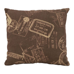 Benzara - Brown Pillow With Clever Paris Passport Theme - Being one of the most romantic places in all the world, it's good advice to always keep a little bit of Paris nearby inside your home. This clever pillow features graphics of passport stamps from various destinations around the world (including Paris) as an homage to international traveling. Get several types of Parisian pillows to build the perfect matching set.