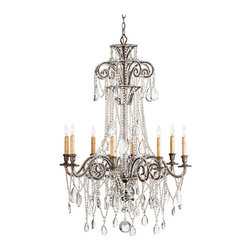 """Kathy Kuo Home - Lillian Elegant Silver Leaf Crystal Bead 8 Light Chandelier- 45""""H - Crystal bead trimmed arms hold swags of crystal over a wrought iron frame and wood components finished in Antique silver Leaf. Tall and elegant, this six light chandelier is named for its designer, Lillian August."""