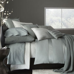 """Donna Karan Home - Donna Karan Home King Duvet Cover, 96"""" x 108"""" - Luxury bed linens in soothing hues make the most of rich textures, from knitted to layered, from solid to striped. From Donna Karan Home. Select color when ordering. Made of alternating rows of shiny and matte silk charmeuse with inserted chiffon deta..."""
