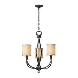 World Imports - World Imports Decatur 3-Light Iron Chandelier with Shades, Rust (3503-42) - World Imports 3503-42 Decatur 3 Light Iron Chandelier with Shades, Rust