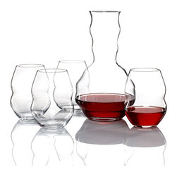 Riedel - Swirl Red Wineglass Set With Gift of Swirl Decanter - Swirl more style onto your table. This delightful crystal decanter and four stemless glasses make a great way to enjoy your favorite wine.