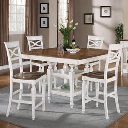 5 PCs. Counter Height Dining Table Set - The group is finished in oak offering the piece a two-tone look and adding instant visual appeal.