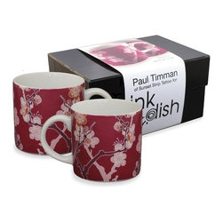 "InkDish - Cherry Ink 2 Mugs Gift Set (Set of 2) - Features: -Made from porcelain. -Eco-friendly. -Traditional cherry-blossom pattern. -Uses the sumi style of Japanese Tattooing. -Microwave and dishwasher safe. -Dimensions: 8"" H x 5"" W x 4"" D."
