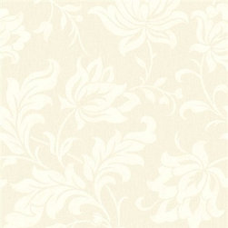 Walls Republic - Adeline Floral Pattern Wallpaper, Cream, Double Roll - With the all-over floral pattern and the shiny neutral background, Adeline brings the vintage look to your room.
