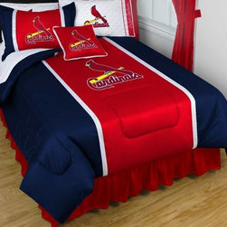 Sports Coverage - MLB St. Louis Cardinals Sidelines Bedding - Complete Set - Twin w/ 1 Sham - Save big and show your MLB team spirit with Sidelines St. Louis Cardinals Bedding Set, including the Comforter, Sheet set, Pillow sham and Bed skirt! This Comforter is made from 100% Polyester Jersey Mesh - just like what the players wear. The fill is 100% Polyester batting for warmth and comfort. Authentic team colors and logo screen printed in the center.   Microfiber Sheet Hem sheet sets have an ultrafine peach weave that is softer and more comfortable than cotton.  Its brushed silk-like embrace provides good insulation and warmth, yet is breathable.  The 100% polyester microfiber is wrinkle-resistant, washes beautifully, and dries quickly with never any shrinkage. The pillowcase has a white on white print beneath the officially licensed team name and logo printed in vibrant team colors, complimenting the NEW printed hems. The Teams are scoring high points with team-color logos printed on both sides of the entire width of the extra deep 4 1/2 hem of the flat sheet.    2 flanged edge that decorates all four sides of each Pillow sham. Made of 100% polyester jersey mesh, just like the players wear.  Bedskirt available in team color with no team logo printed on them.  Includes:  -  Comforter - Twin 66 x 86, Full/Queen 86 x 86,    -  Flat Sheet - Twin 66 x 96, Full 81 x 96, Queen 90 x 102.,    - Fitted Sheet - Twin 39 x 75, Full 54 x 75, Queen 60 X 80,    -  Pillow case Standard - 21 x 30,    - Pillow Sham - 25 x 31,    -  Bedskirt - Twin 76 x 39, Full 76 x 54, Queen 80 x 60 ,