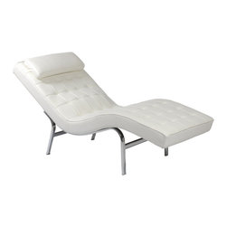 Eurostyle - Valencia-1 Lounge Chair-White - Upholstered in soft genuine leather over foam