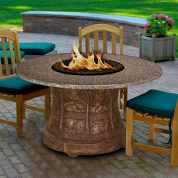 California Outdoor Concepts Palm Round Fire Pit Dining Table - Bring the beach to your backyard with the beautifully designed California Outdoor Concepts Palm Round Fire Pit Dining Table. This tropical-themed selection features a base carved from high-quality resin that displays intricately detailed mountains and palm trees that will turn your patio into a paradise. While you can get lost in the details of the base and you can feel the top-of-the-line craftsmanship by simply running your hand over the reliefs, the superb presentation of this table does not stop there. You and your guests will also appreciate the round top of polished granite! Pulled from thousand year old mountains, this natural stone material is as long-lasting as it gets and, best of all, it's made to order so you can achieve the perfect color you desire. At the heart of the round table is a fire bowl connected to a stainless steel 40,000 BTU burner fueled by a 20 lb. liquid propane tank (sold separately) hiding within the confines of the artful base. For a finishing touch, customize your table with either realistic gas logs and lava rocks that cover the burner or your choice of colorful fire glass.About California Outdoor ConceptsCalifornia Outdoor Concepts builds their fire pits and accessories exactly where it would seem - in the sunny climate of idyllic California. By living the lifestyle they sell, this small company is able to develop some of the most sophisticated, beautiful, and practical designs for outdoor socializing. There are no assembly lines at the COC production facility - each piece is handmade and checked for perfection. When you're ready to heat things up in your backyard, trust in the true California way.
