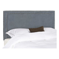 Safavieh - Cory Queen Headboard - Grey - Sleep in style with the elegant Cory Headboard in queen size. Upholstered in lush grey poly suede, this transitional design is punctuated with a mitered double row of nickel nailhead trim.