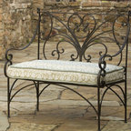 English Iron Garden Bench - This iron bench is lovely. It has a beautiful high back and curved arms that are very inviting. Create a nook or space of interest with this bench on your patio, porch or sunroom.