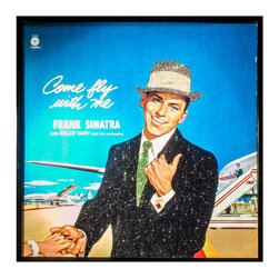 "Glittered Vintage Frank Sinatra Come Fly With Me Album - Glittered record album. Album is framed in a black 12x12"" square frame with front and back cover and clips holding the record in place on the back. Album covers are original vintage covers."