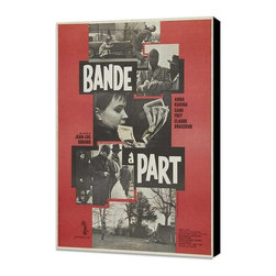Band of Outsiders 11 x 17 Movie Poster - French Style A - Museum Wrapped Canvas - Band of Outsiders 11 x 17 Movie Poster - French Style A - Museum Wrapped Canvas. Amazing movie poster, comes ready to hang, stretched on canvas museum wrap canvas with color sides. Cast: Anna Karina