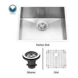 VIGO VG2320CK1 Single Basin Undermount Kitchen Sink Set - The VIGO VG2320CK1 Single Basin Undermount Kitchen Sink Set is a highly functional collection that enhances any decor. The set includes an undermount kitchen sink, matching grid, and strainer that are manufactured with 16-gauge premium 304 Series stainless steel that's fully undercoated and padded with sound-eliminating technology that also prevents condensation. A commercial grade premium scratch-resistant satin finish gives the collection a sleek, clean look and like all VIGO kitchen sinks, your purchase will never rust. This sink also features zero radius corners, elegant and functional drain grooves, and all necessary installation hardware and cutout template for .125-inch reveal or flush installation. The VIGO VG2320CK1 Single Bowl Undermount Stainless Steel Kitchen Sink Set measures 23W x 20D inches and is cUPC certified by IAPMO.About Vigo Industries LLCFounded just over a decade ago in Rahway, N.J., Vigo Industries has established a reputation for offering attractive, affordable, innovative, and durable kitchen and bath products. From faucets and sinks to shower enclosures and bathroom vanities, Vigo's products are designed with state-of-the-art engineering that combines efficiency and elegance. Vigo's engineering and design teams always look ahead to fulfill the ever-evolving needs and tastes of consumers, bringing them the latest styles and trends without compromising quality.
