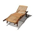 Haste Garden - Haste Garden Riviera Lounger - - Backrest adjusts to four positions and a leg support section adjusts to two positions.- Finished with oil stain in warm brown color. - Durable and strong construction.- Wheels make it easy to pull or push to trace the sun.- Shipped knocked down, simple assembly required.- Robinia wood is resistant to decay. All of the wood used in our furniture is sourced from Europe and is 100% FSC certificated. - Made in Poland.