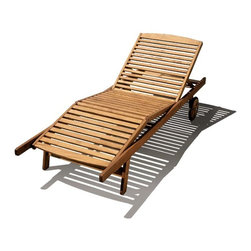 Haste Garden - Riviera Lounger - - Backrest adjusts to four positions and a leg support section adjusts to two positions.- Finished with oil stain in warm brown color. - Durable and strong construction.- Wheels make it easy to pull or push to trace the sun.- Shipped knocked down, simple assembly required.- Robinia wood is resistant to decay. All of the wood used in our furniture is sourced from Europe and is 100% FSC certificated. - Made in Poland.