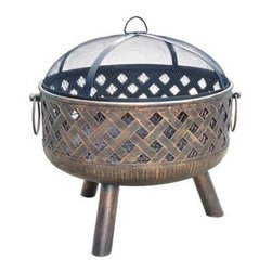 Deeco Woven Charm Outdoor Fire Pit - Made of solid cast iron, the Deeco Woven Charm Outdoor Fire Pit will create a warm and inviting ambiance within  your backyard or patio area that's perfect for entertaining. -Mantels Direct