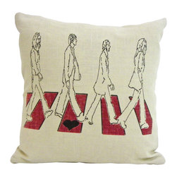 reStyled by Valerie - Beatles Decorative Throw Pillow, Pillow Case Cushion, 16 x 16 Linen Pillow - Looking for a rockin' look to help your room come together? This Abbey Road image is screen printed by hand on a linen and rayon blend pillow cover that has a zipper closure on bottom. It already comes with its own pillow insert, so all you need, besides love, is to add it to your sofa, bed or bench.