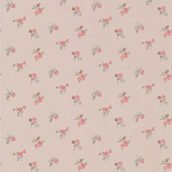 Rosebud Wallpaper: Taupe/Raspberry - This small rose motif wallpaper adds a touch of elegance and style to any wall it adorns, and complements the larger scale floral wallpapers perfectly.