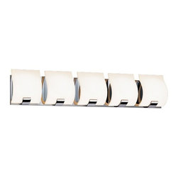 "Sonneman - Sonneman Aquo 29 1/2"" Wide Polished Chrome LED Bath Light - Contemporary 5-light LED bathroom light from the Aquo Collection. By Sonneman. Polished chrome finish. White etched glass shades. Includes five 5 watt LEDs. Light output is 1800 lumens. Comparable to a 100 watt incandescent bulb. 3000K color temperature. CRI is 80. ADA compliant. 6 1/4"" high. 29 1/2"" wide. Extends 3"" from the wall. Backplate is 5 1/4"" high 29 1/2"" wide.  Contemporary 5-light LED bathroom light from the Aquo Collection.  By Sonneman.  Polished chrome finish.  White etched glass shades.  Includes five 5 watt LEDs.  Light output is 1800 lumens.  Comparable to a 100 watt incandescent bulb.  3000K color temperature.  CRI is 80.  ADA compliant.  6 1/4"" high.  29 1/2"" wide.  Extends 3"" from the wall.  Backplate is 5 1/4"" high 29 1/2"" wide."