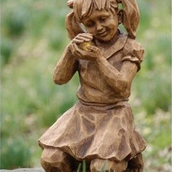 Evergreen Enterprises Girl with Firefly Solar Garden Statue - Some of the greatest treasures are those you find in nature and the Evergreen Enterprises Girl with Firefly Solar Garden Statue is discovering the joy and magic of fireflies. Bring the joy of childhood to your garden with this resin statue. Featuring the look of hand-carved stone and lovingly detailed with solar fireflies this little lass will keep your garden happy.