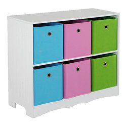 home basics - White Six-Bin Storage Shelf - This eye-catching shelf features removable bins and bright hues for a colorful way to add storage options to a room.   30.9'' W x 25.5'' H x 11.75'' D Shelf: medium-density fiberboard Drawers: polyester Assembly required  Imported