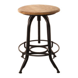 Kathy Kuo Home - Architect's Industrial Wood Iron Counter Bar Swivel Stool - The simple, round design of this industrial swivel stool will complete the look of your modern kitchen island, and be equally at home in your office. Just spin the rustic wood top to raise or lower this stool to match the height of your desk, bar or counter.