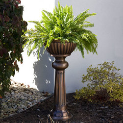"19"" Classic Copper Pedestal Planter - Antique Copper - Add a charming touch to your home with this Classic Copper Pedestal Planter, great for both indoor and outdoor use. This planter has been handcrafted with solid copper and features a beautiful Antique Copper finish."