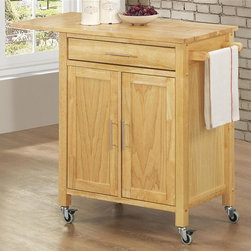 Sunset Trading - 40.5 in. Eco-Friendly Kitchen Cart - Convenient mobile design with locking wheels. Durable piece sure to be welcome addition to any dining area. Stainless steel hardware and drop leaf add style, multifunction and quality. Ease of access with shelving for a variety of storage options. One cabinet for hidden storage. One utility drawer and towel bar. Natural wood base and butcher block top. Warranty: One year. Made from Malaysian oak solids and veneers. Natural finish. Made in Malaysia. Assembly required. 40.5 in. L x 19 in. W x 35 in. H (67 lbs.)Add plenty of extra storage space to your kitchen, dining or entertainment room with this versatile Sunset Trading cart. Maximize the functionality of your kitchen with style by adding a kitchen cart from Sunset Trading Sunset Dining Collection. Increase your kitchen storage and functionality for years to come without breaking the budget!