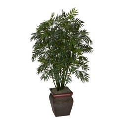 Nearly Natural - Mini Bamboo Palm w Decorative Vase - Bring the tropics home with this plant. Perfect for any home or office. Best of all, no watering required. Construction Material: Polyester material, Iron wire, Wood, PVC Leather. 26 in. W x 22 in. D x 45 in. H ( 5 lbs. ). Pot Size: 9 in. W x 11 in.HBring the tropics to your home or office with this elegant mini bamboo palm silk plant. Featuring a bevy of stalks jutting skyward, and thousands of fronds just waiting for a tropical breeze, this palm will have you reaching for a Pina Colada every time you look at it. But we're not done - it comes in a beautiful decorative container that adds a touch of class. Perfect for any home or office that needs some sunshine and summer fun!