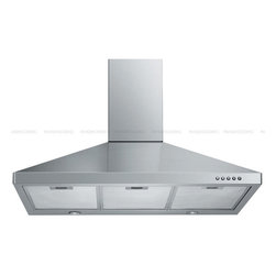 "Spagna Vetro - SPAGNA VETRO 30; SV198F-30 Wall-Mounted Stainless Steel Range Hood - Mounting version - Wall Mounted 860 CFM centrifugal blower Three-speed mechanical, soft-touch push button control panel Two 35W halogen lights (Type: GU-10) Aluminum multi-layers micro-cell dishwasher-friendly grease filter(s) Machine crafted stainless steel (brushed finish) 6"" round duct vent exhaust and back draft damper Convertible to duct-free operation (requires optional charcoal filter) Telescopic flue accommodates 8ft to 9ft ceilings (optional flue extension available for up to 10ft ceiling) Full Seamless Stainless Steel For residential use only, one-year limited factory warranty"