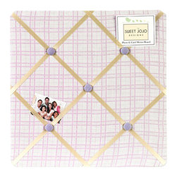 Sweet Jojo Designs - Pretty Pony Fabric Memo Board - The Pretty Pony Fabric Memo Board with button detail is a great way to display photos, notes, and postcards on your child's wall. Just slip your mementos behind the grosgrain ribbon to create an engaging piece of original wall art. This adorable memo board by Sweet Jojo Designs is the perfect accessory for the matching children's bedding set.