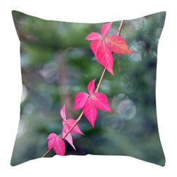 "Back to Basics Pillows - Red Wine Leaves Pillow Cover, 16x16 - ""Red Wine Leaves"" was taken in Naugatuck, Connecticut."