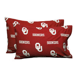 College Covers - NCAA Oklahoma Sooners Pillowcases Two-Pack Red Set - Features:
