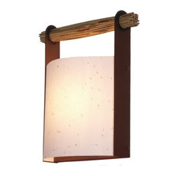 Fire Farm - Japanese Lantern Wall Sconce by Fire Farm - The Fire Farm Japanese Lantern Wall Sconce designed by Adam Jackson Pollock uses modern materials to give this traditional Japanese Lantern a new life. The shade has pressed flowers while the natural reed handle supports the rust colored metal frame. The Japanese Lantern Wall Sconce features a Flower Petal paper on styrene shade and is ADA compliant.