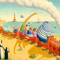 """Oopsy Daisy Canvas Wall Art for Kids Rooms - Alison Jay - """"Seaside Train Ride"""" 24x18 $119 and 40x30 $249"""