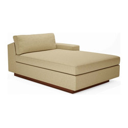 True Modern - Jackson Chaise - Blue Bird - Use this stand alone Chaise and get real comfortable or create the living room of your dreams. This modular section can be paired with any of the Jackson sectional pieces to create the perfect shape that your room needs.  The oversized seat, wide arm, and pillows make it the ultimate lounger, but the clean design still keeps it modern and hip. The seat cushions are wrapped in down and the back pillows are stuffed with luxurious blend of feather and down as well. Our exclusive baffled system helps keep the feathers in place so you won't need to constantly fluff the pillows. The wooden base is hidden so the sofa really appears to be floating on air. The low slanted back let's you lay back, stretch out and relax. Its polyester woven fabric is durable and soft with a great multi tone texture.