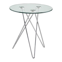 Eurostyle - Zelda End Table - This end table has chromed steel legs with a clear tempered glass top. The diameter is 19.75'' Features: -Chromed steel legs.-Tempered glass top.-Distressed: No.Dimensions: -Overall dimensions: 21.5'' H x 19.75'' W x 19.75'' D.-Overall Product Weight: 18 lbs.