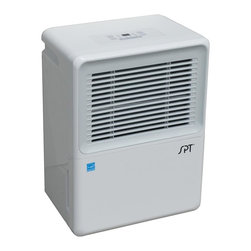 SPT Appliance - 50-pint Energy Star Dehumidifier with Pump - Empty water 3 ways: continuously, passively or directly . Choice of continuous de-humidifying or 35 ~ 85% humidity settings (in increments of 5%). Full bucket indicator with auto shut-off. Memory IC (unit restarts at previous setting after power failure) . Washable air filter with reminder indicator. Removable bucket . Casters for easy mobility . Time delay auto protection. 1 to 24 hours timer. 2 fan settings: Normal and Turbo. Soft touch electronic control panel. Quiet operation. UL approved. Energy Star. No assembly required. 15.39 in. L X 10.98 in. W X 23.23 in. H (37 lbs.)This new 50-pints ENERGY STAR qualified dehumidifier features carefree operation with built-in pump, allowing unit to continuously discharge moisture. The unit can pump water upward to drain out a window or into a sink - up to 16 feet (hose provided). There is still the option to drain passively or empty the water tank manually.Designed to remove excess moisture from your home quietly and efficiently. A necessity for those suffering from dust mite, allergies or simply for those who wants to keep their indoor humidity at a comfortable level. Air that is too damp can cause itchy skin and nasal passages, condensation on windows, water damage to materials, mold growth and rotting of wood materials in your home. SPT dehumidifiers remove moisture from the musty air so you can enjoy year-round comfort in your home or office. Humidity level for this unit can be set as low as 35% with Normal or Turbo fan speed. Features washable air filter with reminder indicator and casters for easy mobility.