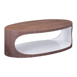Zuo Modern Contemporary, Inc. - Triton Coffee Table Walnut & White - The Triton Coffee Table is one of the most unqiue pieces we carry.   The stark lacquer white with the warm walnut tones give a beautiful mix of transitional and modern design.  It is a truly beautiful piece.
