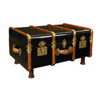 """Inviting Home - Trunk Coffee Table, black - 1930s style travel trunk coffee table (distressed black); 32-3/4"""" x 18-1/8"""" x 22-3/4""""H; Finished in distressed antique ivory wood 1930s travel trunk. Inside the trunk wood grain finished in dark walnut. Trunk has professional brass hardware brass locks and keys steamed cherry wood bent slats. Trunk complete with hand turned legs to serve a further life as a coffee table. When the Gare Central was manned by porters carrying multiple travel trunks to the Pullman Coup��_ or your private carriage on the Orient Express... When travel was for restless souls with matching bank accounts and a yen for romance. When a Rolls coupe was delivered with a picnic trunk strapped to a tail-rack. And when this trunk held a complete setting for twelve including champagne flutes and dispensers for foie gras and Petrossian."""