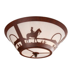 Steel Partners Inc - Round Drop Ceiling Mount - COWBOY SUNSET - Every piece we create is unique — handcrafted at our factory in Chehalis, Washington, USA. Due to this, lead times are 2 to 4 weeks.