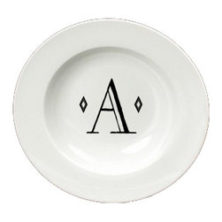 Caroline's Treasures - Letter A Initial Monogram Retro Round Ceramic White Soup Bowl CJ1058-A-SBW-825 - Letter A Initial Monogram Retro Round Ceramic White Soup Bowl CJ1058-A-SBW-825 Heavy Round Ceramic Soup Bisque Gumbo Bowl 8 3/4 inches. LEAD FREE, microwave and dishwasher safe. The bowl has been refired over 1600 degrees and the artwork will not fade or crack. The Artwork for this gift product and merchandise was created by Sylvia Corban copyright and all rights reserved.