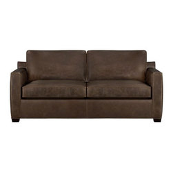 Davis Leather Apartment Sofa - Davis is a contemporary compact leather sofa designed for contemporary real life. Pair it with its companion stand-alone or sectional pieces in a full-grain aniline dyed leather, all with firm but plump support. Natural markings and an innovative tannage technique highlight the leather's natural tones and rich character. Understated hardwood legs have a rich hickory stain.