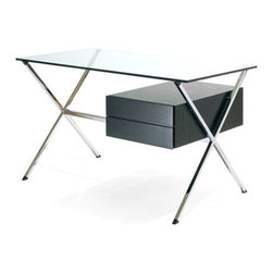 Franco Albini's Floating Pedestal Desk w/Ebonized Oak & Chrome Base, Knoll - designer:Franco Albini