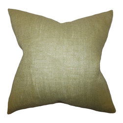 "The Pillow Collection - Ellery Solid Pillow Moss Green 18"" x 18"" - Create a homey vibe to your living space with this square pillow. This solid pillow features a moss green hue which complements a variety of other colors and patterns. Made of 100% high-quality burlap material, this indoor pillow provides comfort to your interiors. Toss this 18"" pillow on top of the sofa, bed or seat."