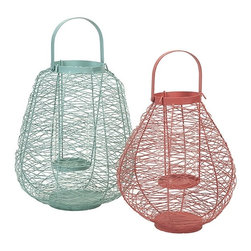 iMax - Palermo Wire Lanterns, Set of 2 - The set of two Palermo wire lantern feature hurricane glass inserts in a fresh color combo.