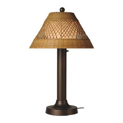 Patio Living Concepts - Patio Living Concepts Java 34 Inch Table Lamp w/ 3 Inch Bronze Tube Body & Diamo - 34 Inch Table Lamp w/ 3 Inch Bronze Tube Body & Diamond Center Pattern Weave Antique Honey Wicker Shade belongs to Java Collection by Patio Living Concepts All-weather handwoven center diamond pattern PVC wicker shade highlights the opal polycarbonate light globe in this elegant outdoor lamp. Features weatherproof all resin construction with heavy weighted base, two level dimming switch and 16 ft. weatherproof cord and plug. Waterproof light bulb enclosure allows the use of a standard 100 watt light bulb. Model # 16257 Lamp (1)
