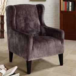 Armen Living Madera Wingback Chair - The head of the household deserves a comfortable regal chair and the Armen Living Madera Wingback Chair fits the bill. The classic wingback design seems destined for a special spot in front of the fireplace while the clear modern influence allows this chair to fit in anywhere. Simple sleek lines with tightly tailored cushions let you appreciate the chair's historical roots without sacrificing your sense of style. Upholstered in lush velvet in your choice of gray or caramel this warm and cozy chair has a tufted seat for long lasting elegance.About Armen LivingImagine furniture without limits - youthful robust refined exuding self-expression at every angle. These are the tenets Armen Living's designers abide by when creating their modern furniture collections. Building on more than 30 years of industry experience Armen Living combines functional versatility and expert craftsmanship into their dramatic furniture styles all offered at price points fit for discriminating budgets. Product categories include bar stools club chairs dining tables ottomans sofas and more. Armen Living is based in Sun Valley Calif.